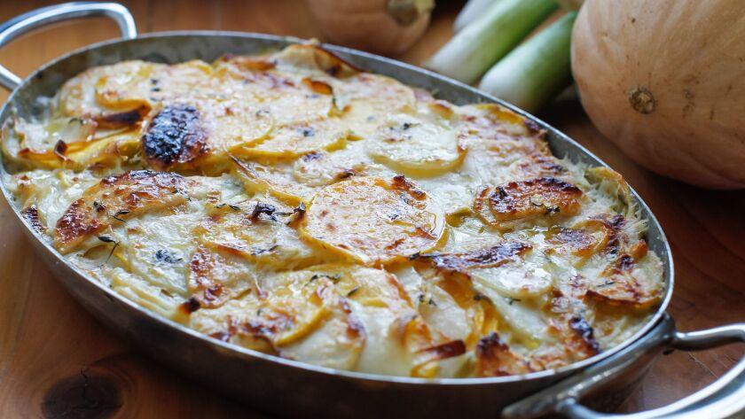 Fall Squash, Apple, Potato and Comte Cheese Gratin.