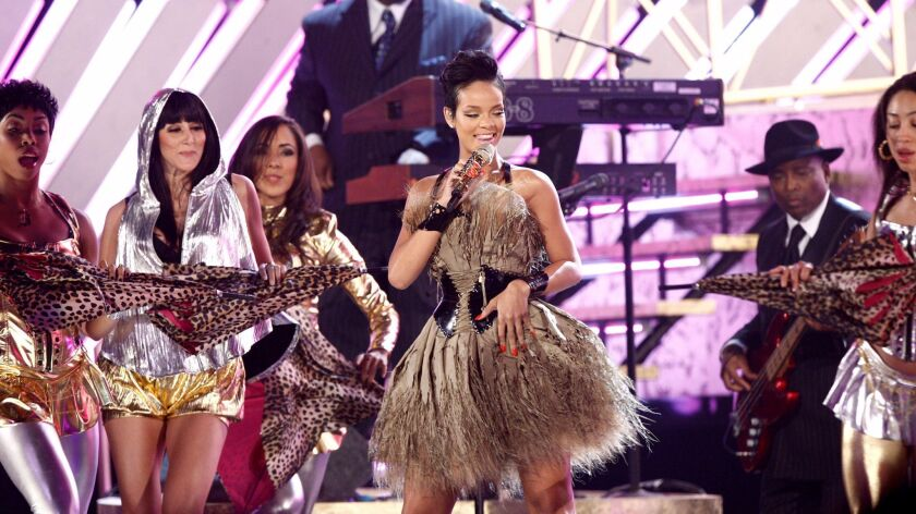 Rihanna performs at the 50th Annual Grammy Awards in Los Angeles, February 2008.