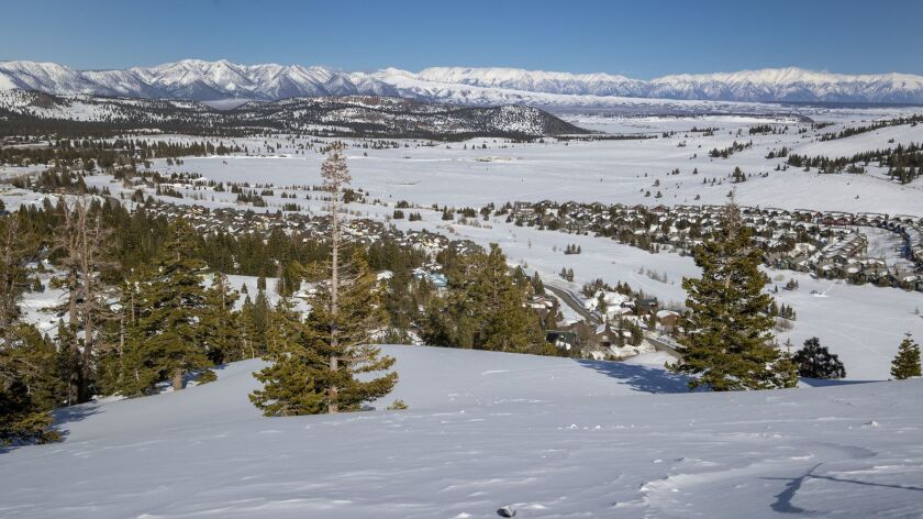 MAMMOTH LAKES, CALIF. -- WEDNESDAY, MARCH 13, 2019: Snow covers the town of Mammoth Lakes in a view