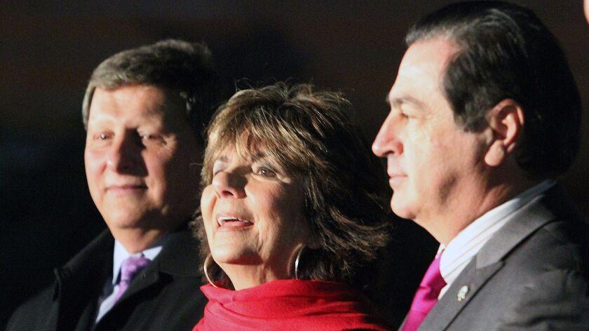 Glendale Mayor Paula Devine, with councilmen Ara Najarian and Vartan Gharpetian at the City of Glend