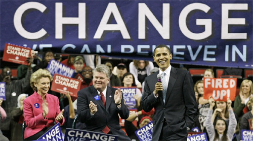 IN WASHINGTON STATE: Sen. Barack Obama (D-Ill.) campaigns with Gov. Chris Gregoire, left, and Seattle Mayor Greg Nickels, center, both of whom have endorsed him. Obama's organization believes support from local leaders has been key.