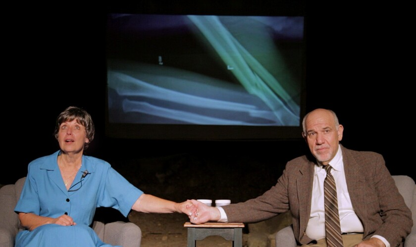 """Katherine James and Alan Blumenfeld portray the subjects of a surreal media interview in the wake of a horrific crime in """"Tone Clusters."""""""