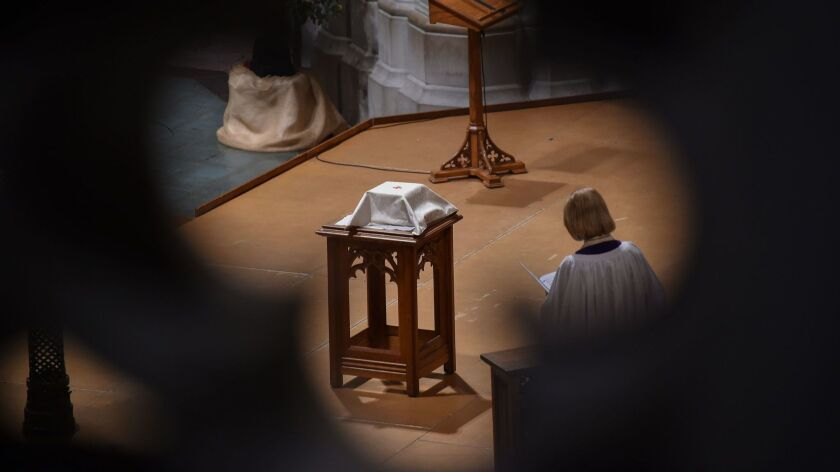 The remains of Matthew Shepard are seen at the Washington National Cathedral on Oct. 26.