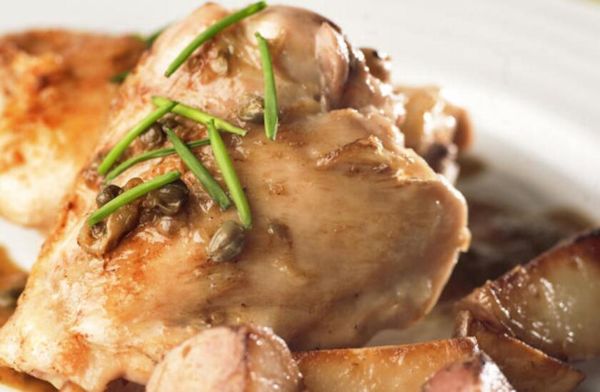 This rich chicken dish comes together in under an hour. Recipe: Braised chicken with capers