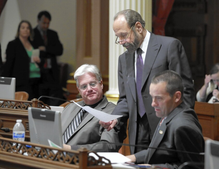 Rep. Steve Knight (shown at right in 2014, when he was in the state Legislature, with State Sens. Andy Vidak, left, and Jerry Hill) has raised $432,640 as of June 30, much more than his three Democratic challengers.