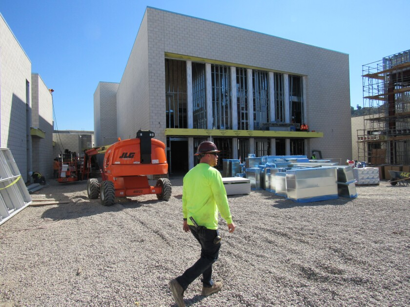 The $26 million Performing Arts Center at Grossmont High School has reached its halfway point of being finished.