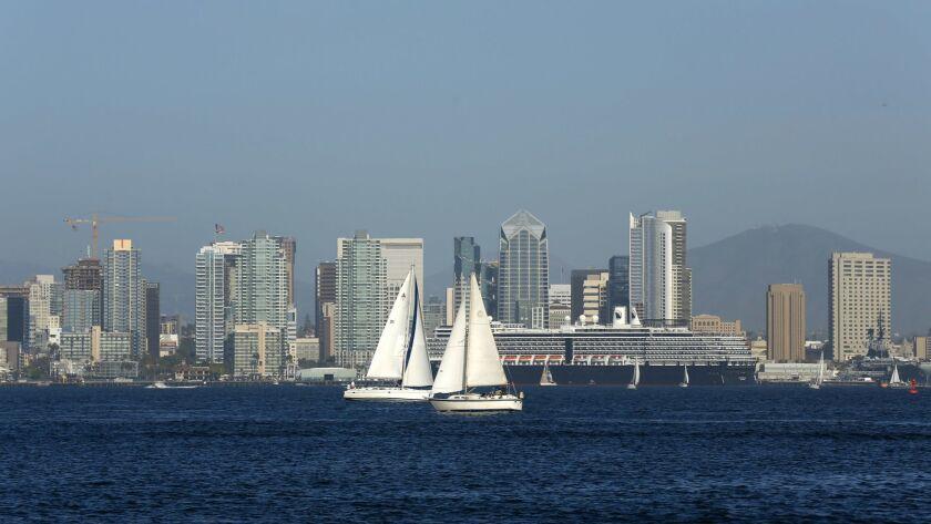 Sailboats navigate San Diego bay.