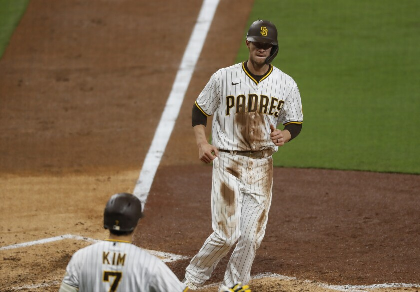 Wil Myers, who broke up Pirates pitcher Tyler Anderson's no-hitter in the seventh inning, scores