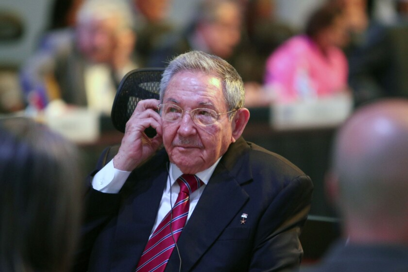 Raul Castro during the Community of Latin American and Caribbean States summit in Costa Rica, where he set new demands - including the return of Guantanamo Bay - for normalization of relations with the U.S.