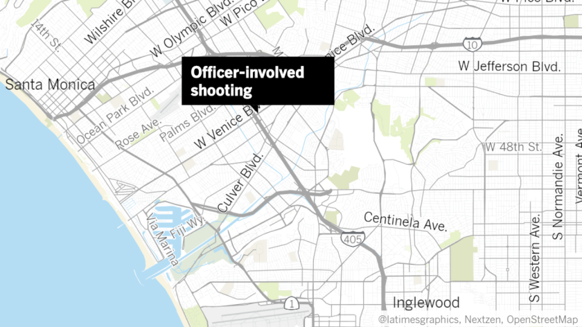Los Angeles police opened fire near Sepulveda and Venice boulevards Saturday afternoon