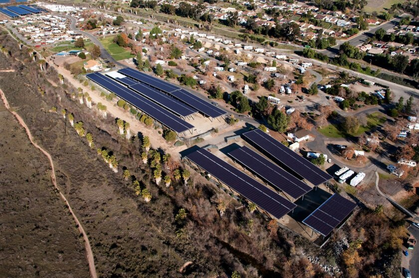 Aerial view of Santee Lakes solar-panel system.