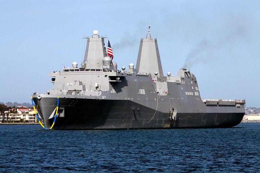 The 684-foot amphibious transport dock San Diego will enter the yard in September