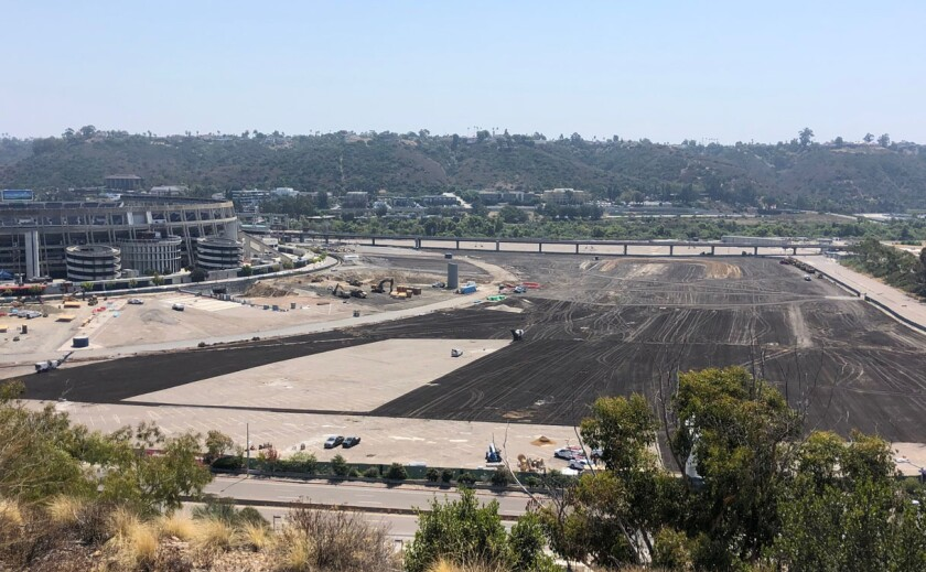 View looking south at the Mission Valley property where San Diego State is building a new stadium targeted to open in 2022.