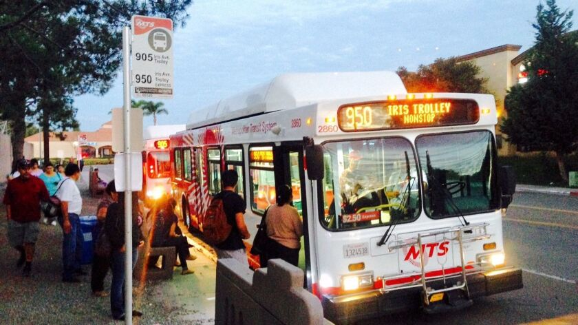 The 950 express bus cuts the travel time for passengers riding between the Otay Mesa Port of Entry and the Iris Avenue Trolley Station.