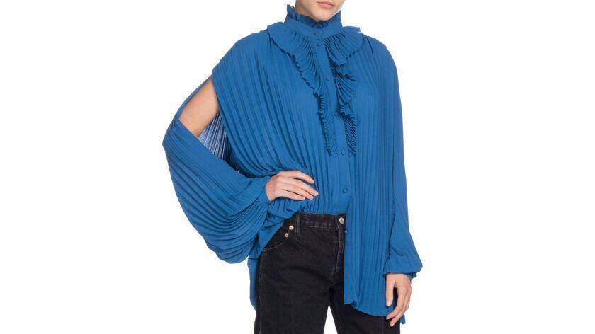 Balenciaga pleated crepe blouse.