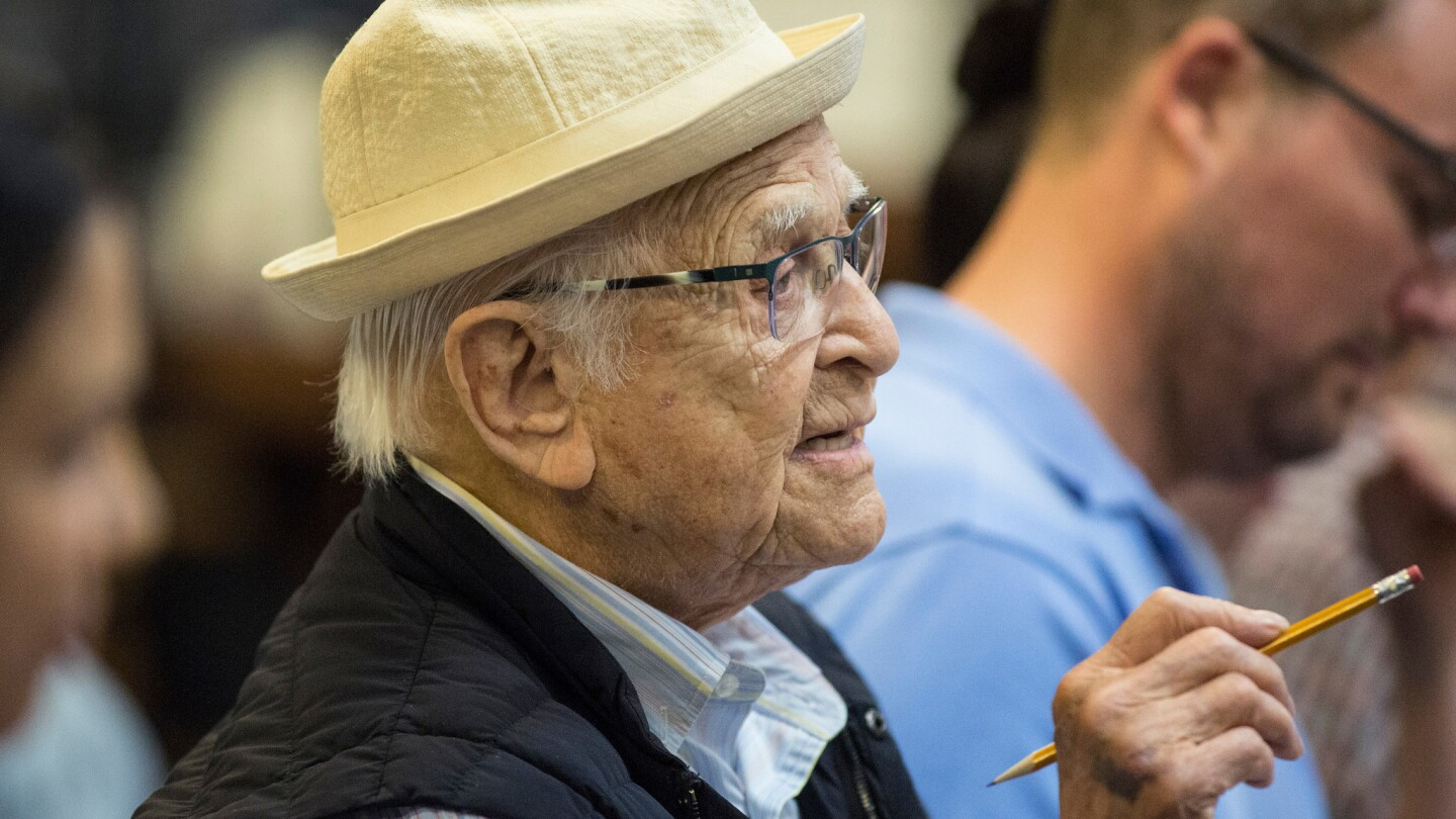 "Netflix series ""One Day at a Time"" executive producer Norman Lear at Sony Pictures Studios for a table reading of an upcoming episode in Culver City, Calif., on Aug. 2, 2017."