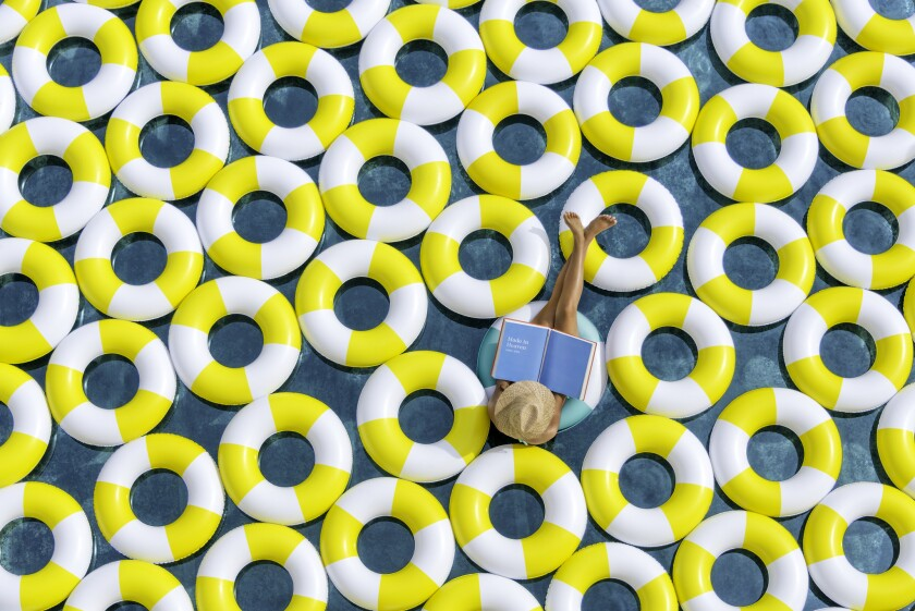 L.A. photographer Gray Malin captured the pool at Le Meridien Ra Beach Hotel near Barcelona covered with inner tubes. The hotel will be featuring Malin's work at its lobbies worldwide.