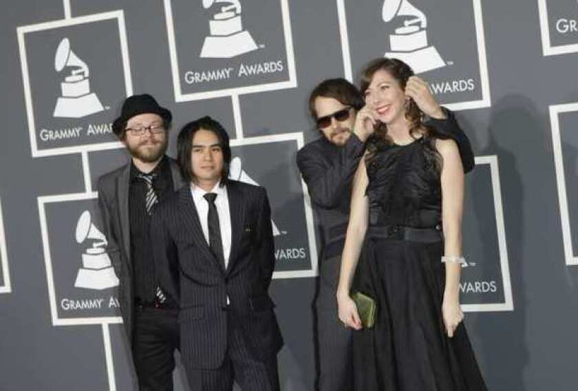 """The Silversun Pickups, shown at this year's Grammy Awards, have asked Mitt Romney's campaign to stop using their song """"Panic Switch."""""""