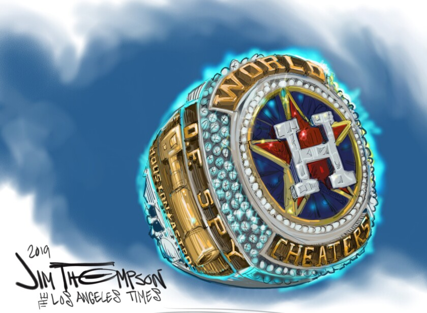 Cartoonist Jim Thompson illustrates the Houston Astros as cheaters.