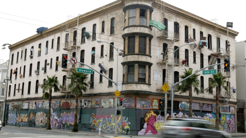 The old Hugo Hotel, now known as the Defenestration Building, at Sixth and Howard streets in San Francisco in 2008. A plan in the works may mean the building and an art project could be razed to make way for new development.