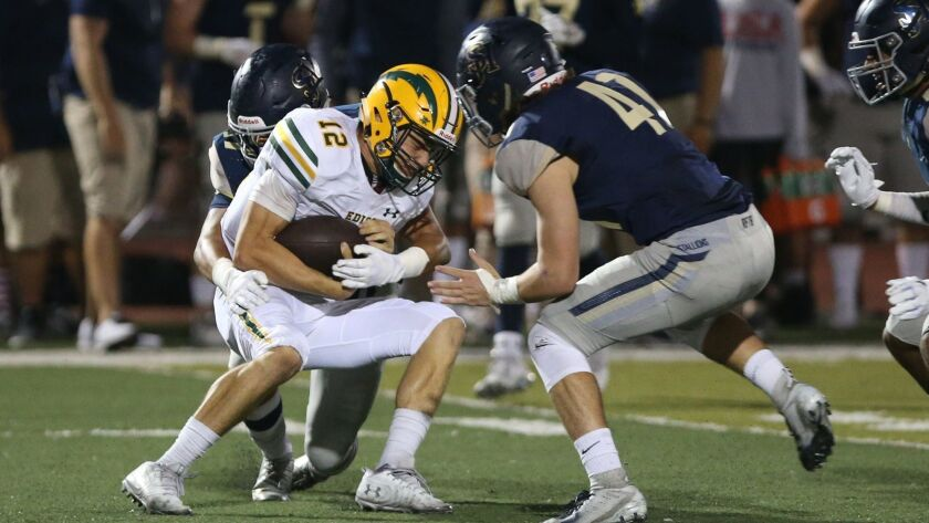 Edison's Patrick Angelovic is sacked during nonleague football at San Juan Hills on Friday.