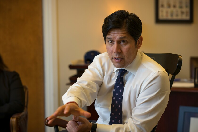 A bill carried by Sen. Kevin De Leon in 2013 is the focus of questioning by the FBI, a source says. The Senate Energy, Utilities and Communications Committee rejected the bill.