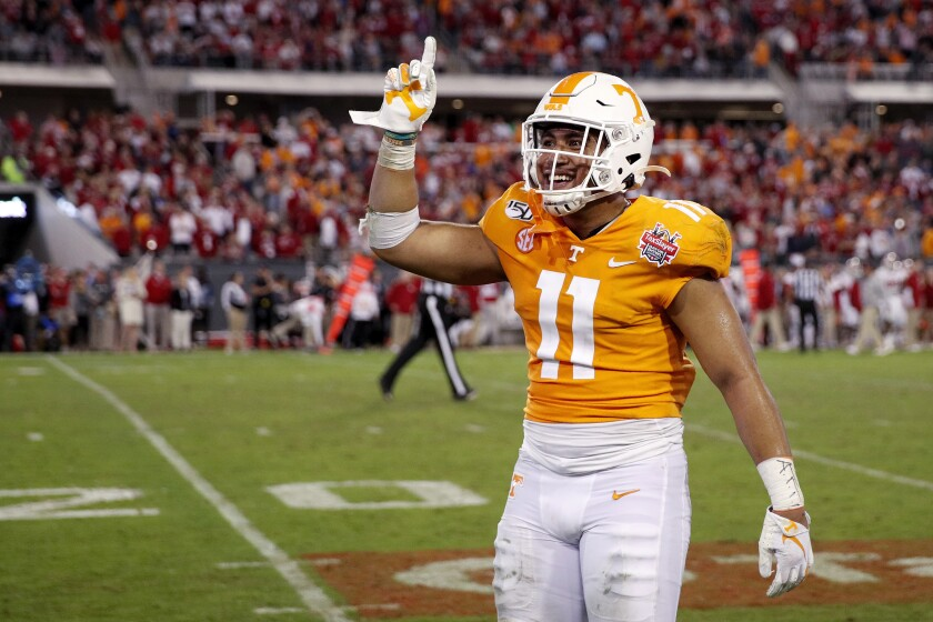 Tennessee linebacker Henry To'o To'o celebrates in the fourth quarter when the Volunteers rallied for a 23-22 win over Indiana in the Gator Bowl on Jan. 2, 2020.