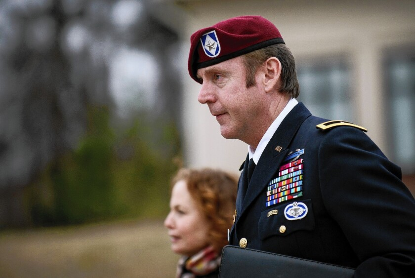 Army Brig. Gen. Jeffrey A. Sinclair leaves the courthouse at Ft. Bragg, N.C., this week. Opening statements in his court-martial are expected to begin Friday.