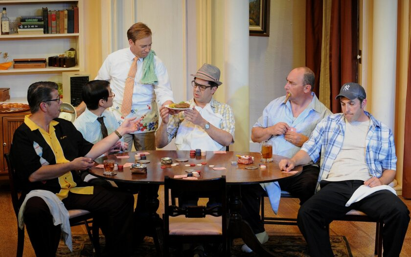 "John Nutten, Albert Parks, Louis Lotorto, Cris O'Bryon, Bernard X. Kopsho and Matt Thompson (left to right) in the 2013 North Coast Rep production of Neil Simon's ""The Odd Couple."""