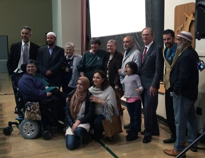 """After screening of """"The Sultan and the Saint,"""" representatives from the North County Islamic Foundation and St. Thomas More Catholic Church met with the film's director.r."""