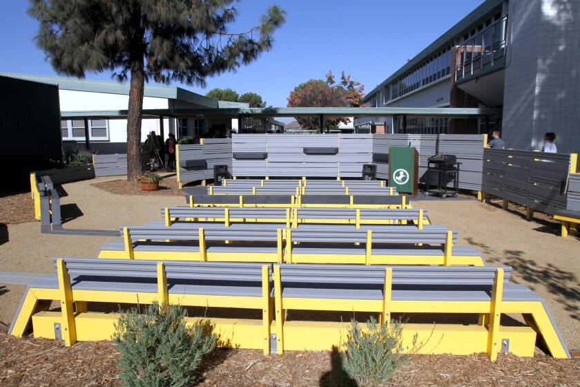 A new outdoor classroom was dedicated at John Muir Middle School, in Burbank on Friday, October 21, 2016. The classroom was made possible with the assistance of Woodbury University architectural students, who designed and built the composite wood classroom and Nickelodeon volunteers, who did the landscaping.