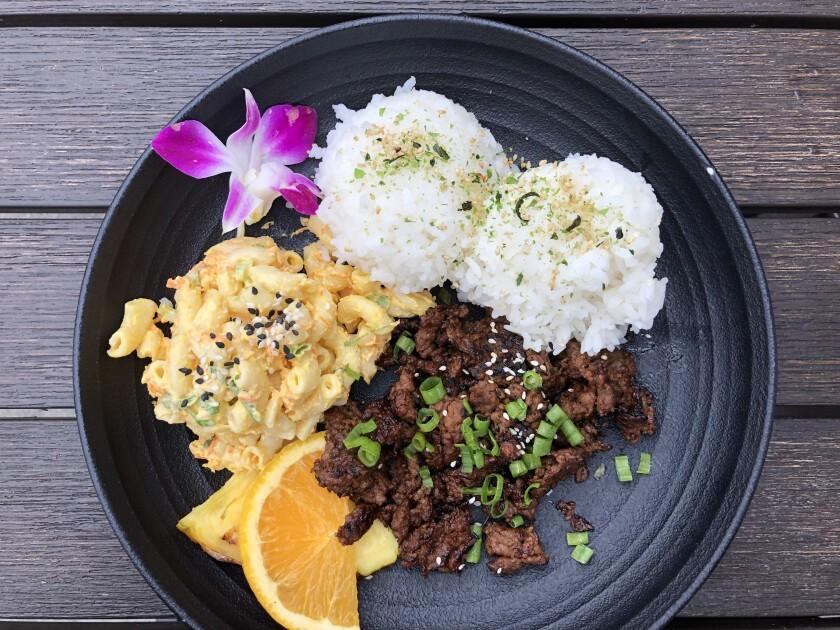 The Hawaiian Plate with Korean beef bulgogi at Switchboard Restaurant & Bar in Oceanside.