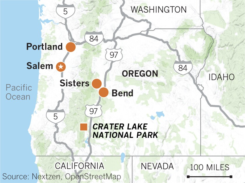 Map of Oregon showing Portland, Salem, Bend and Sisters, Crater Lake National Park, Highway 97.
