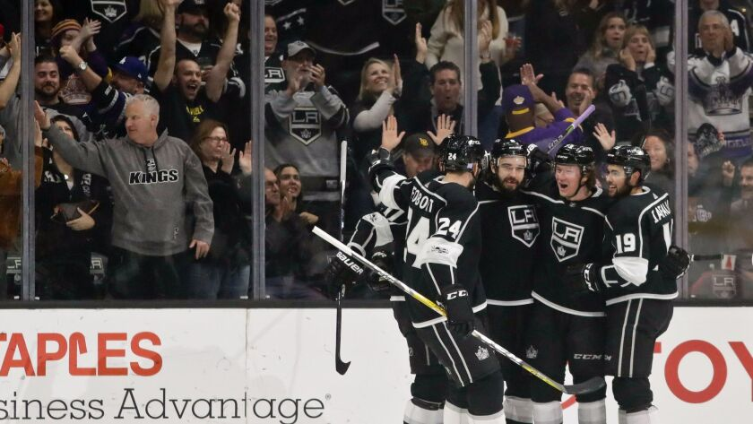 Members of the Los Angeles Kings celebrates after a goal by center Tyler Toffoli during the first pe