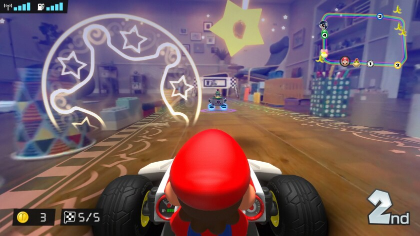 """""""Mario Kart Live: Home Circuit"""" uses augmented reality to turn your home into a racecourse."""