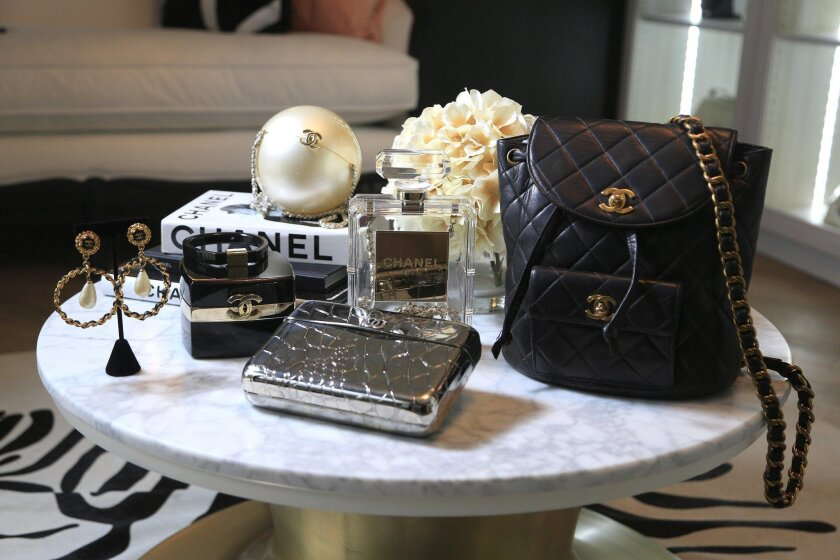 A select collection of vintage Chanel products is deplayed at the Designer Vault in Carlsbad. Consignment stores that sell items like these have gone through a stylish transformation as demand for pre-owned luxury items has increased.