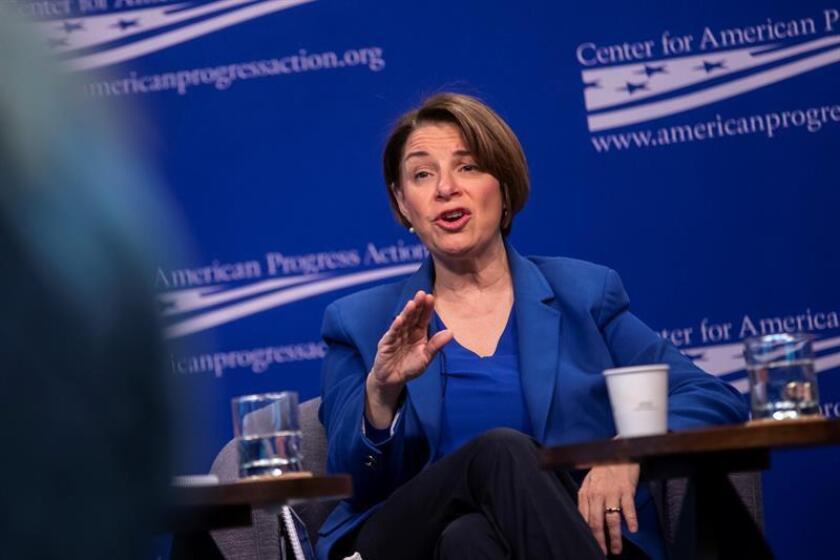 La senadora demócrata por Minnesota y candidata a las primarias de las elecciones de 2020, Amy Klobuchar. EFE/Archivo