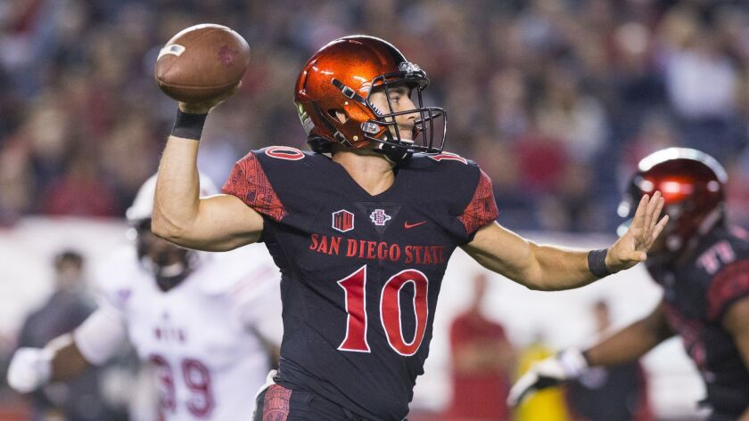 San Diego State's Christian Chapman throws a pass during a game in September 2017.