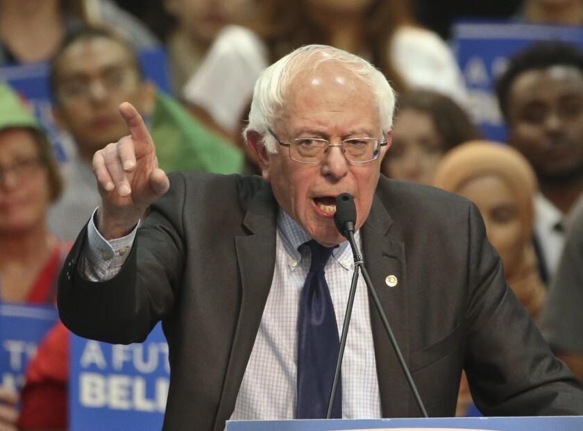 Bernie Sanders addresses supporters.