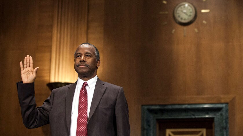 Housing and Urban Development Secretary Ben Carson is sworn in on Capitol Hill last month.