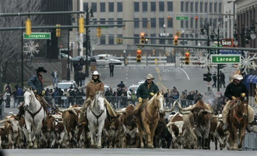 In this Sunday, Sunday, Jan 13, 2008 file photo, a cattle drive is seen on Washington Blvd. in downtown Detroit at the North American International Auto Show, as the 2009 Dodge Ram is introduced. The streets of downtown Detroit will be free of cattle in 2009, and there won't be any Jeeps flying thr