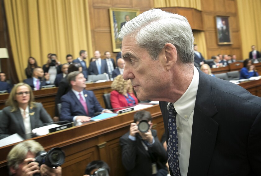 Former special counsel Robert S. Mueller III after testifying before the House Judiciary Committee on Wednesday.