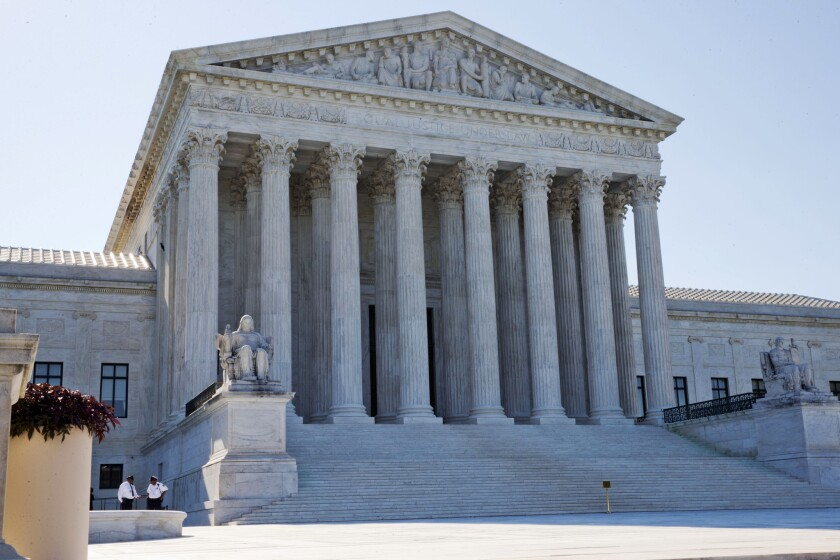The Supreme Court in Washington, where justices on Monday ruled that independent citizens' commissions were allowed to draw electoral district lines. California's districts are set up by its citizens' commission.