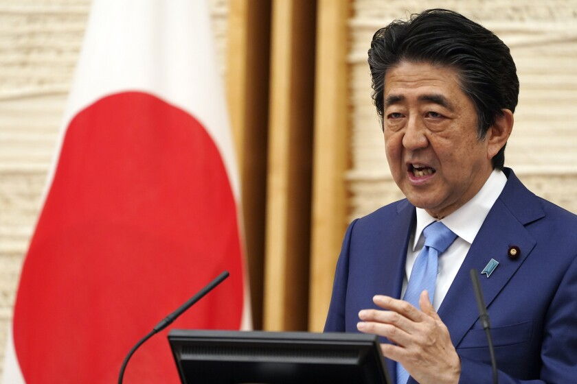 Japanese Prime Minister Shinzo Abe at a news conference in May.