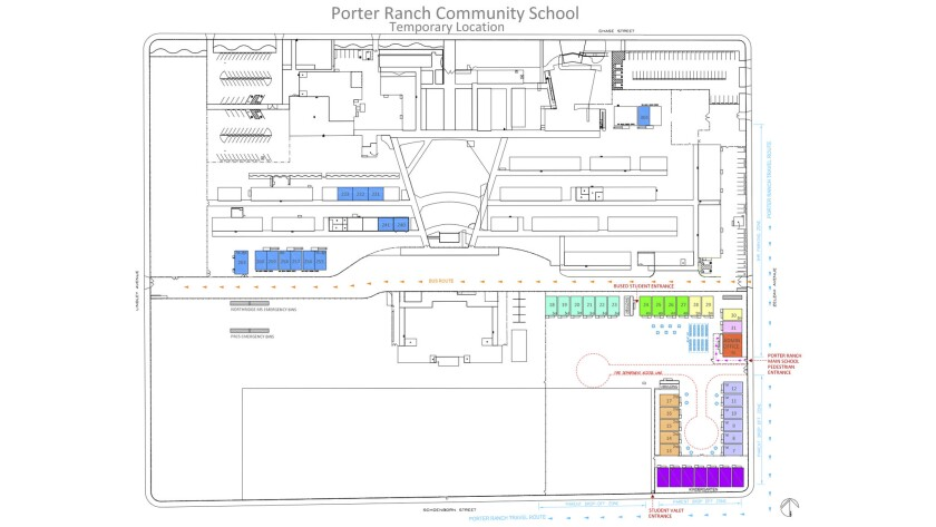 The layout for Porter Ranch Community School students at Northridge MIddle School