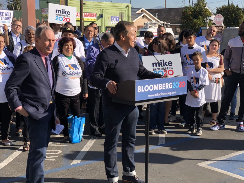 Democratic presidential candidate Michael R. Bloomberg campaigned Sunday with former Los Angeles Mayor Antonio Villaraigosa at Teresitas Restaurant in East Los Angeles.