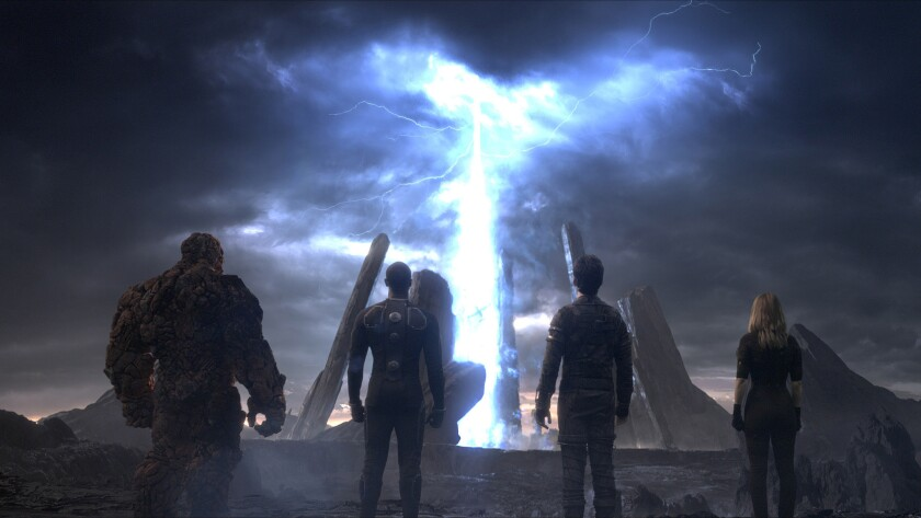 """The Thing (Jamie Bell), Johnny Storm (Michael B. Jordan), Reed Richards (Miles Teller) and Sue Storm (Kate Mara) in the movie """"Fantastic Four,"""" directed by Josh Trank."""