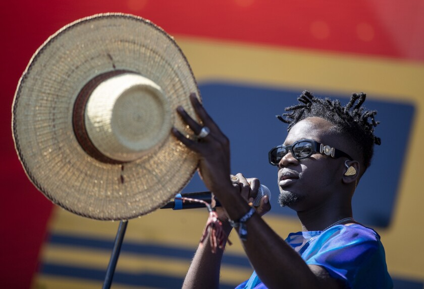 Mr Eazi on stage April 13 at the Coachella Valley Music and Arts Festival.