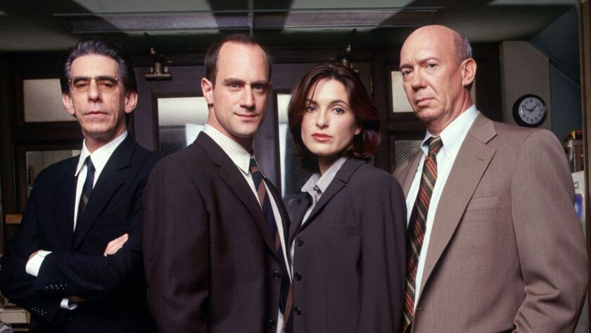 "Richard Belzer, left, Christopher Meloni, Mariska Hargitay and Dann Florek from the first season of ""Law & Order: SVU."""