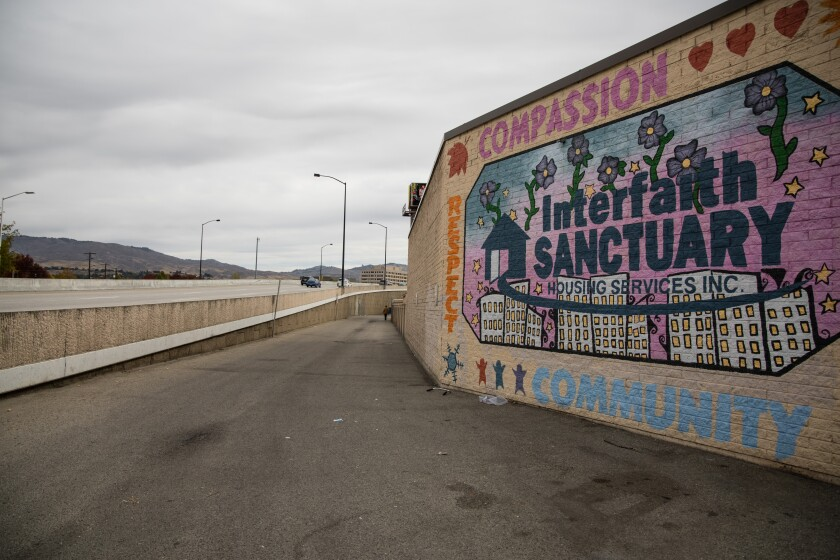 An alley between the Interfaith Sanctuary and Interstate 184 in Boise.